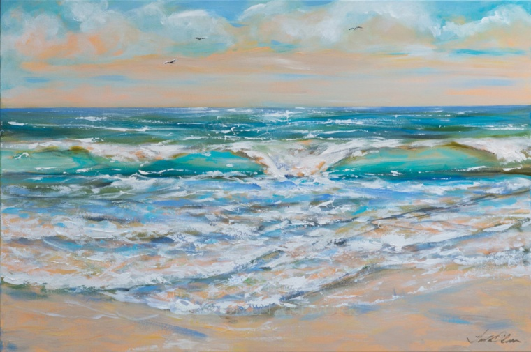"This seascape would add a bit of the ocean to your living room or den and is a good size for over a fireplace. ""Gulf Wave"" is 36x24""."