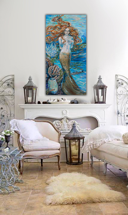 "This new mermaid painting started out as a chalk drawing, then I added the acrylic paints. She grew from my imagination to a finished painting on canvas. It is 48x24"". linda-olsen.pixels.com"