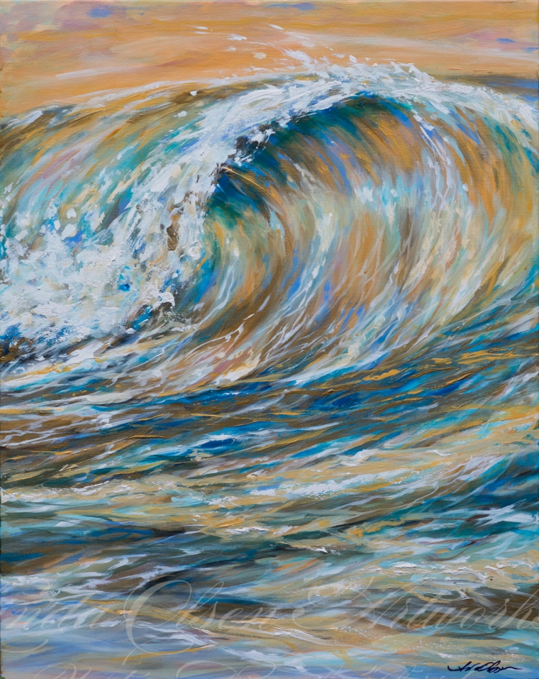 "A friend artist painted with me last week and I worked on this painting. Having another artist with point of views helps in the tweaking process. Beth recommended that I darken the water at the base of the water and keep the highlights just on the foam of the arching wave. It was a good suggestion! I highly recommend having friends give critiques that are productive rather than, ""Oh, I really like it"". I have two other artist friends in California and my adult kids help with progress sometimes. ""Seaspray Gold"" is 24x30."