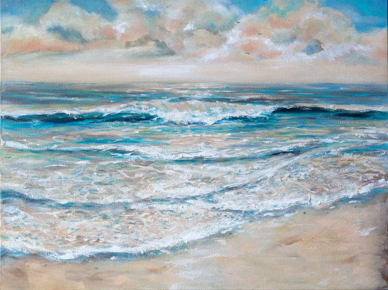 """Tide Rolling In"" is 40x30x1.5"" and I have found that its a good size for over a fireplace or bedroom. To give your room a beach feeling, consider putting a wave painting up. Ah, I can hear the seagulls!"