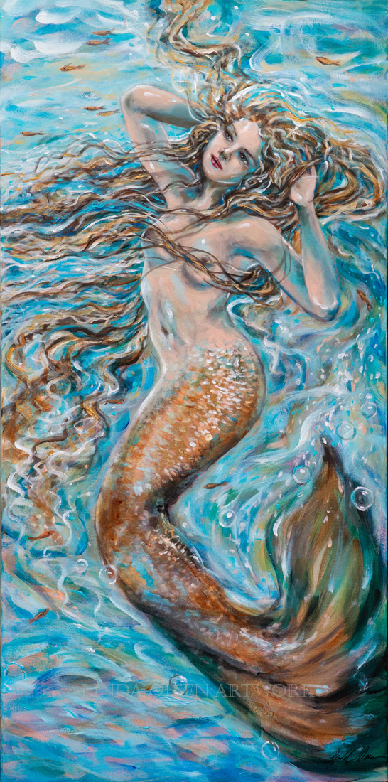 "Pale skinned underwater diva is relaxing and stretching underwater with her yoga. ""Aqua Yoga"" is 24x48"". Prints will be available soon."