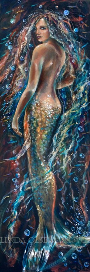 """A customer feel in love with one of my mermaid paintings but felt that she could not afford the large original plus the original was too large for the space she intended. SO I am making a canvas giclee smaller 12x36"""". The original is 20x60"""". I use only top fine art printers and give them the original to match as reference. Photographing your art properly is very important in this process. Making sure the  proportions are spot on and that all of the edge beyond the edge of the canvas is removed. As a professional photographer, I own some very good cameras so am able to get a very high resolution image file that is close to 100 MB."""