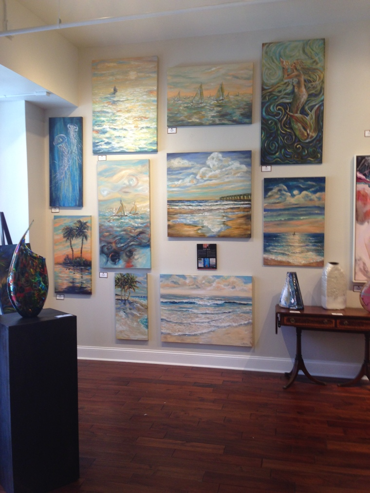 """My paintings are now being represented at the Grand Bohemian Gallery next to the Casa Monica elegant hotel in St. Augustine. They have 11 of my originals and have sold one already.  """"Sweet Escape"""" is 36x48"""" and now resides in a fan of my work. SO thrilled!!"""