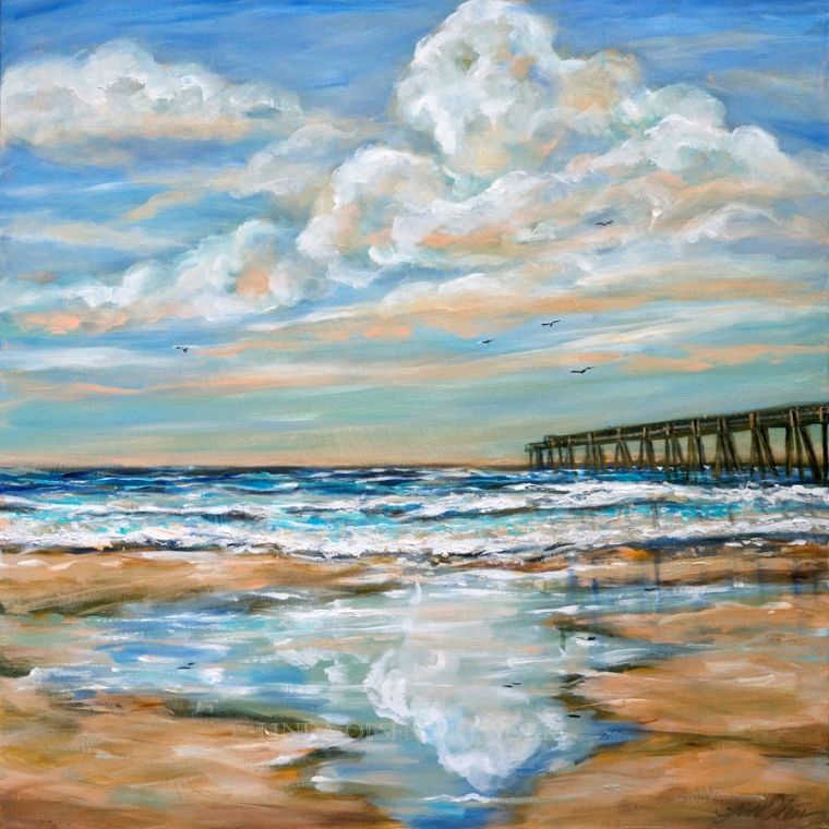 """I have a prospective customer who wanted a painting of the Jacksonville Beach Pier so I did this 36x36"""" painting. The last glazes had metallic paints that shimmer a bit while viewing. Its subtle and hard to photograph metallic acrylic paints. A final varnish makes the effect even more subtle."""