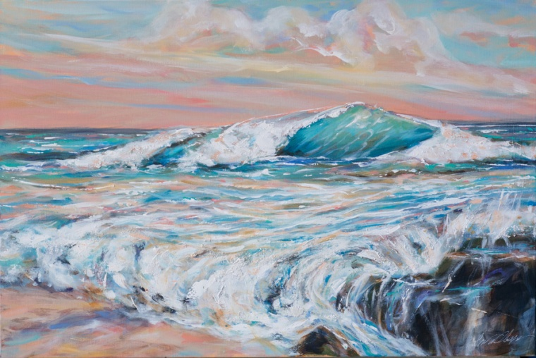 """Lazy Surf"" is 36x24 and has a more pastel palette. Keeping with a more expressionistic brush strokes and layering of thicker paint details give the illusion I imagined of a morning beachscape."