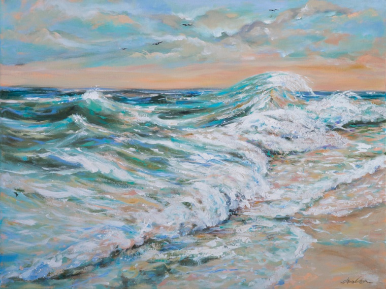 """Offshore Breeze"" is a 40x30x1.5"" gallery wrap that needs no frame and adds some salt air to you beach themed den or living room."