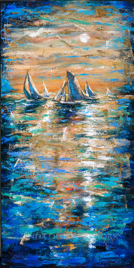 "Growing up on the coast of California with my sailing family, I have very fond memories of all the races we crewed on. The excitement of keeping the sails competitive, using every wind opportunity, the salt air and warm breeze (sometimes cold winds). This abstract palette knife painting called ""Regatta at Sunset"" is 24x48""."