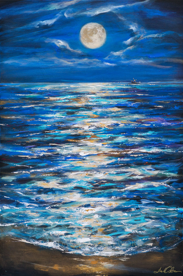 """Its been a full moon week. Two evenings I spent on the beach enjoying the magical scene and just had to paint the vision. """"Sturgeon Moon"""" is 24x36."""