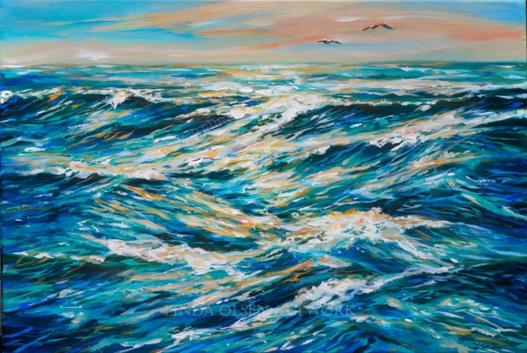 """Two Seagulls"" is 30x20"" and is not including the beach. There is a loneliness of being on the sea when no land is near."