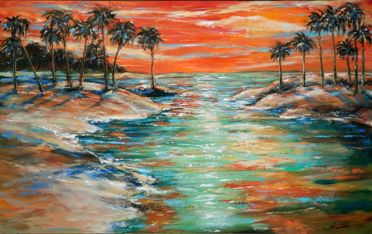 """Paradise Lagoon is 48x30"""" gallery wrap and was an older work that I decided to update. As an artist, there are times where I feel that it is complete but on further inspection, new inspiration occurs."""