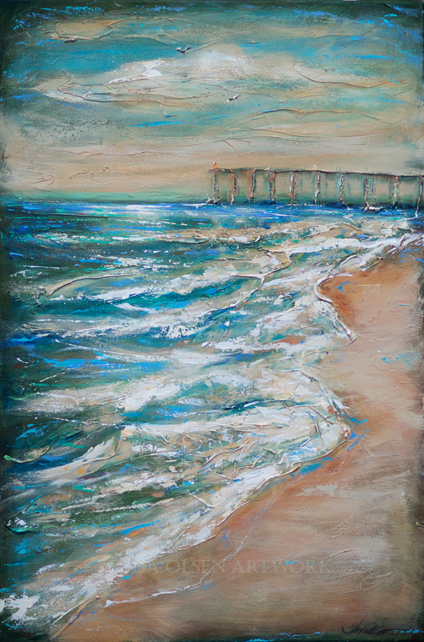 """Pier and Shoreline"" is 24x36 and is highly textured."
