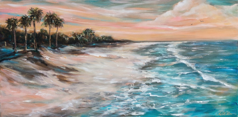 """Tropical Shore"" is 48x24"" gallery wrap. I had some images in my head of my travels in years past in various tropical islands. I did some chalk sketches first and then just started with a light weight background coloring and washes, added more paints and tints, some glazes with lighter colors and worked with quick brush strokes. Working with high energy and quickly really gives a more abstract feeling. This has become a favorite and the size lends itself to an over the bed decor. I kept the color subdued. linda-olsen.pixels.com for additional information."