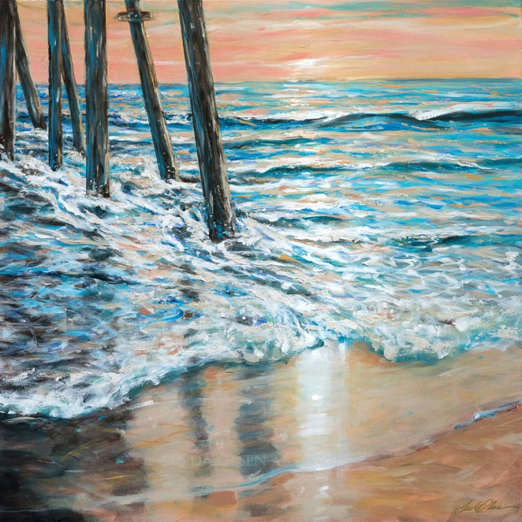 "Since I have been in a highly enhanced creative state last month, I dream of paintings to produce. In my mind, I saw the sea and tide flowing around the pilings of a pier. I also imagined a pink sunrise with reflections.  ""Under the Pier"" is 36x36"".  Working from a vision in my mind is not the best way to paint because you have to rely on what you think it would look like rather than using reference photos."