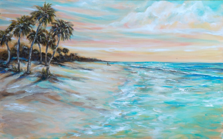 "I just completed two more paintings very similar to my ""Tropical Shore"" 24x48 painted. (posted two weeks ago.) I did one that fits over a fireplace 36x24"" called ""Tropical Shore II"". The larger one is lighter and at an early morning with a couple walking their dog. ""Walking the Dog"" is 48x30"". Both thick gallery wraps and ready for display. linda-olsen.pixels.com. On another note, I am asking my followers if they would prefer just seeing photography or paintings. Or is it ok to see both?"