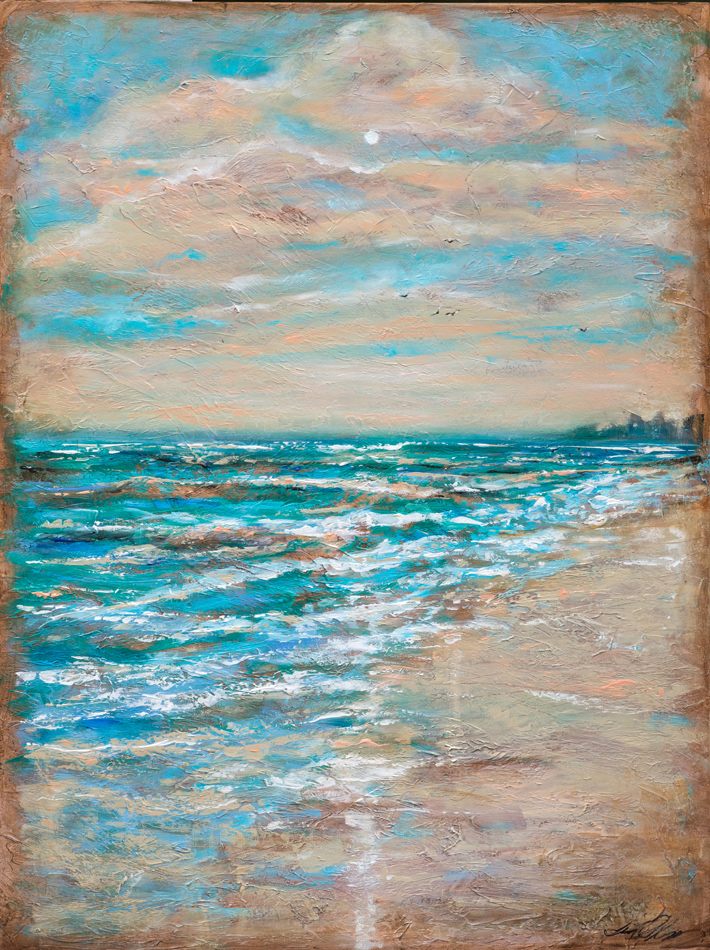 """""""Along the Shore"""" is an impressionistic beach landscape done with palette knife and brush. It is 30x40"""" and a thin gallery wrap. As you can see with the detail shot, it is impressionistic."""