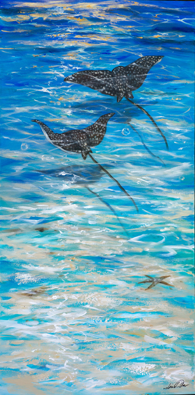 "This 24x48"" gallery wrap painting features two eagle rays flying over the sandy bottom of the ocean. There are some gold highlights at the top of the painting for the afternoon sunset."