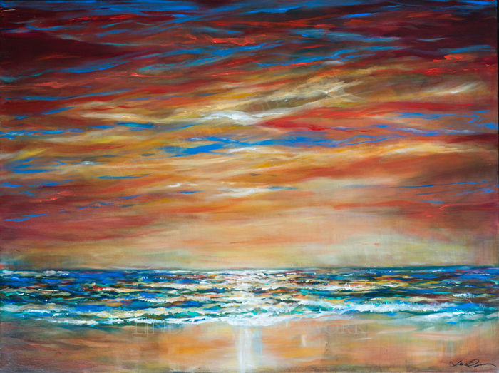 """Firey Sky"" is 40x30x1.5"" gallery wrap and more abstract than most of my work."
