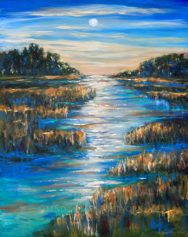 "Moon Over Waterway is 24x30"". It is a southern landscape of the moon rising over the intracoastal waterway."