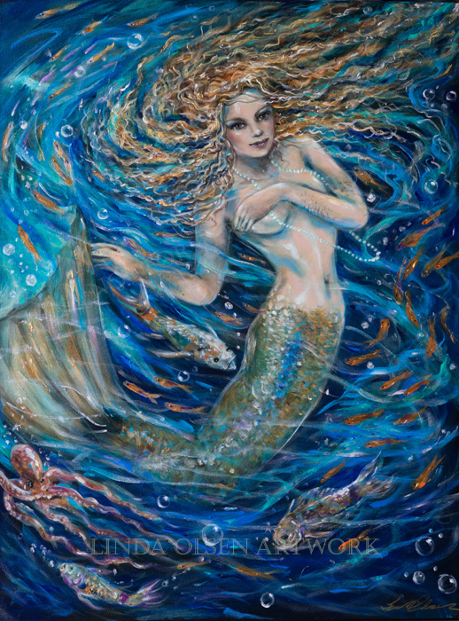 "With all 0f the underwater paintings being created inmy painting studio, I also have been working on a sea maiden since before Halloween. I finally finished ""Swirling Water"" which is 30x40"". Mermaids take a lot longer than my ocean paintings because of the more realistic (expressionistically ) painted. Every brush stroke changes a look especially in the face. Its like her soul and personality emerges. Since mermaids are fantasy, I like the process of inventing the scene.  I dont force the look but keep working until I am happy. It was finished just in time for a big show at the Beaches Historical Museum. Opening is Friday evening."