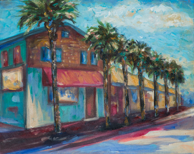 """Shorelines"" is 20x16"" and depicts a part of First Street in Neptune Beach near our Town Center. The historic Pete's Bar is the business with the yellow awning. Unfortunately, when Hurricane Matthew hit, the awning was toast!"