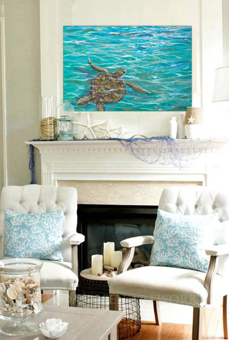 """Sea Turtle Dreams"" is 36x24"" gallery wrap and would be wonderful with beach themed decor. It is impressionistic in style and lively and fresh in colorings. Acrylic paints and glazes."