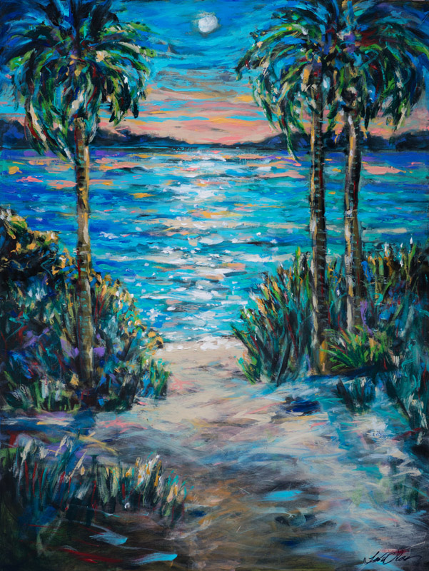 "Day to Night is 36x48"" vibrant impressionistic painting of a tropical scene. I am leaving in the morning for a trip to St. Kitts with some artist friends. There will be eight women on this plein air painting trip and I am so excited!! I started this painting to get me into the island life. Some of the artists are from Charleston and I am thrilled to be working along side a nice diverse group of artists who all have different styles. I will keep you posted on the trip if I have cell phone coverage. I hear it is spotty. We also have a day trip to Nevis planned. ALthough I have traveled the West Indies and Caribean pretty extensively, I have not been to either of these islands.  Of course I will bring my camera...."