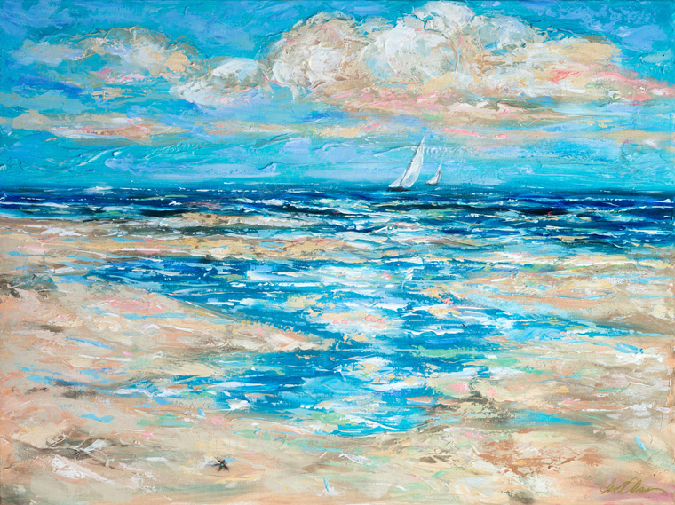 """Tide Rising"" is drying as we speak. It is 40x30"" and because palette knife expressions require layers of thick paint, it takes a lot longer to dry. WHile painting it, I have to step back a lot to analyze and see what areas needed to be layered with complimentary hues and paint pastels. I usually use a flat palette so I can load up the various mixed pastels onto the knives and lightly wipe each layer over the previous dried layers. This way the colors don't get muddy. linda-olsen.artistwebsites.com"