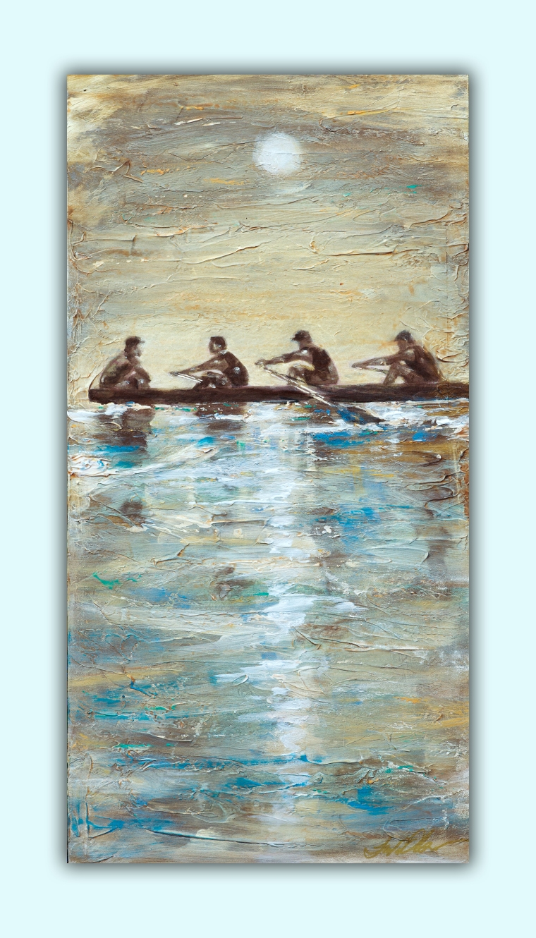 """My son in law, a Brit, is quite an athelete and last year competed in the  international Rowing competition. His team did really well until the race with the Chinese Olympic  team. My grandfather was a coxin on the Standford Rowing team so I have always admired the sport.  I painted this 12x24"""" painting on a gessoed masonite panel."""
