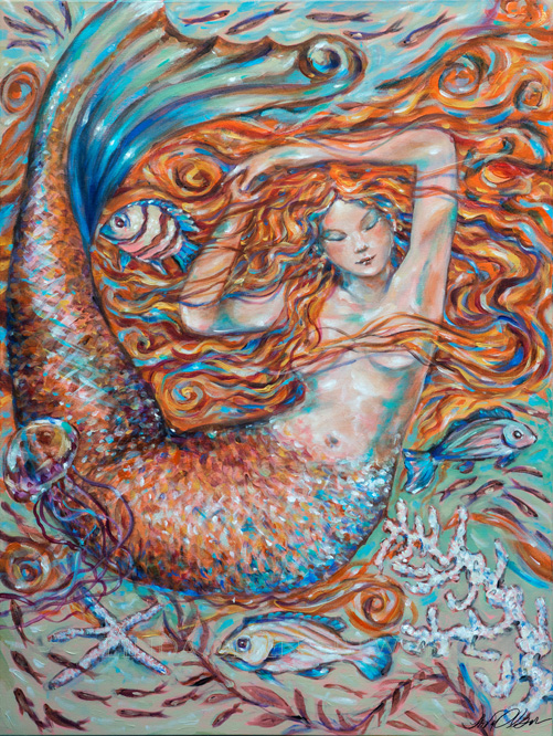 "A decade ago, I did a few mermaids that were more whimsical than the other mermaid studies. See the image with five older mermaids. After returning from the West Indies, I continued in that early inspiration of letting my brush lead me into more colorful and impressionistic strokes. The top image is a new original called ""Ginger Dreams"" which is 30x40"". The second painting is called ""Harmony"". 30x40"" gallery wrap."