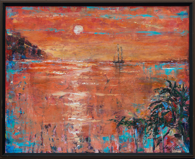 """Salt Plage Sunset"" is 31x26 was painted from memories and photos from painting at Salt Plage, old salt mill north of Christophe Harbour and Marina. It was a lovely sunset and a lone sailboat rested in the bay. I did this one with palette knives."